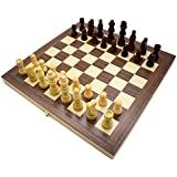 Wooden Chess and Checkers Set with Folding Chess Set Travel Chess Game Board Interior for Storage