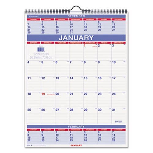 at-A-Glance 3-Month Wall Calendar, January 2019 - December 2019, 22'' x 29'', Wirebound (PM1028) by At-A-Glance