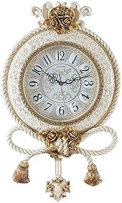 Jueven Reloj de Pared de Lujo con diseño de Borla Reloj de Pared silencioso para Sala de Estar Oficina Dormitorio Baño Cocina Moderno Europeo Vintage ...