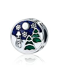 Soulove Christmas Snowy Wonderland Blue/Green Enamel 925 Sterling Silver Bead for Snake Chain Charm Bracelet