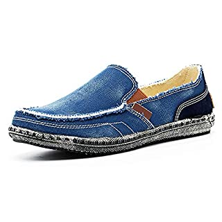 JAMONWU Mens Canvas Shoes Slip on Deck Shoes Boat Shoes Non Slip Casual Loafer Flat Outdoor Sneakers (12 US,Blue)