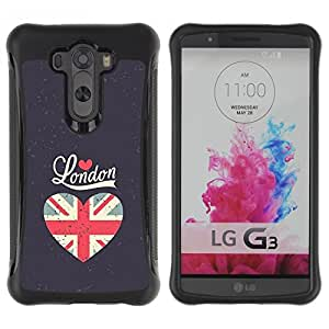 "Pulsar iFace Series Tpu silicona Carcasa Funda Case para LG G3 / D855 / D850 / D851 , El amor de la bandera de Londres gris del corazón Unión Uk"""