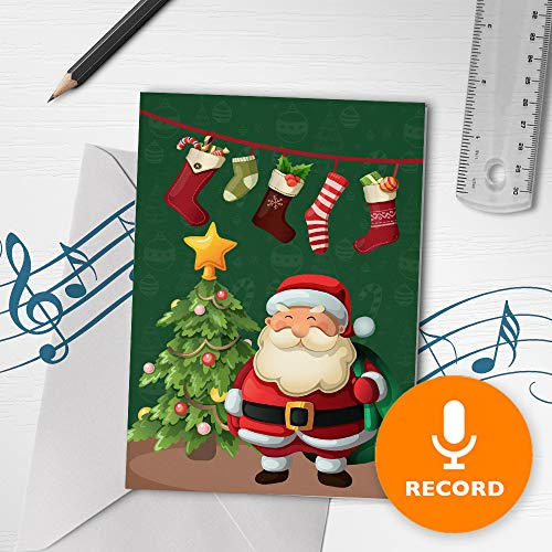 Santa Merry Christmas Card With Sound | Talking Christmas Card, Holiday Musical Greeting Card, Singing Christmas Card 00249 (120 Second Recordable) (Recordable Cards Voice Christmas)