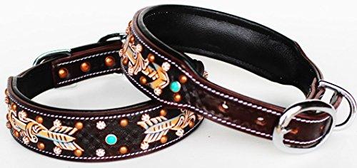 PRORIDER Medium Rhinestone Dog Puppy Collar Crystal Cow Leather 6033