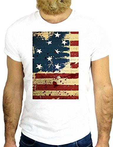T SHIRT Z0296 AMERICA AMERICAN FLAG USA US NEW YORK PROUD TO BE COOL GGG24 BIANCA - WHITE S