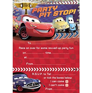 disney cars party invitations pack of 20 size app 210 x 160 mm