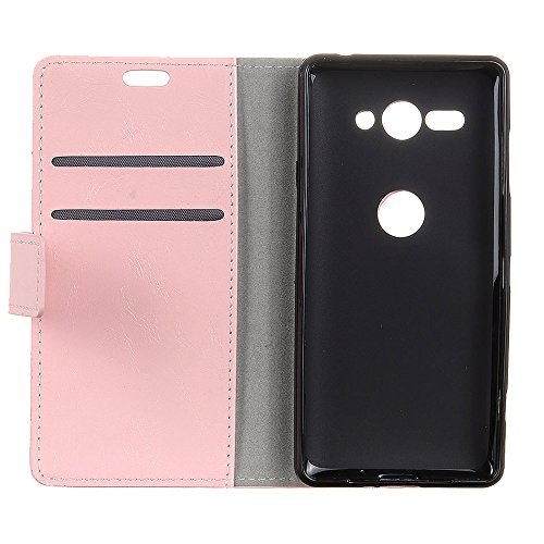 Lusee PU Caso de cuero sintético Funda para Sony Xperia XZ2 Compact H8314 5.0 Pulgada Cubierta con funda de silicona negro caballo Loco patrón Rosa