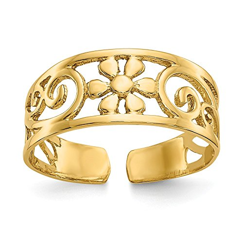 14k Yellow Gold Floral Adjustable Cute Toe Ring Set Fine Jewelry Gifts For Women For Her Designer Yellow Toe Ring