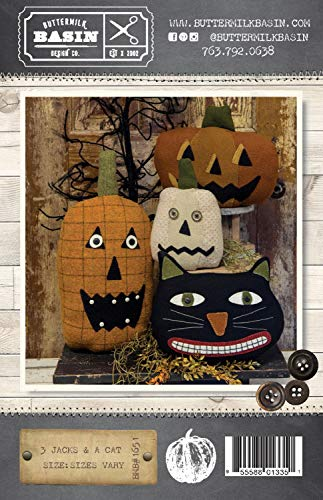 3 Jacks & a Cat Halloween Pillow Patterns - by Buttermilk Basin - Wool Applique - BMB 1651 -
