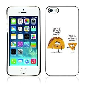 CQ Tech Phone Accessory: Carcasa Trasera Rigida Aluminio PARA Apple iPhone 5 5S - Funny Taco & Nacho Illustration