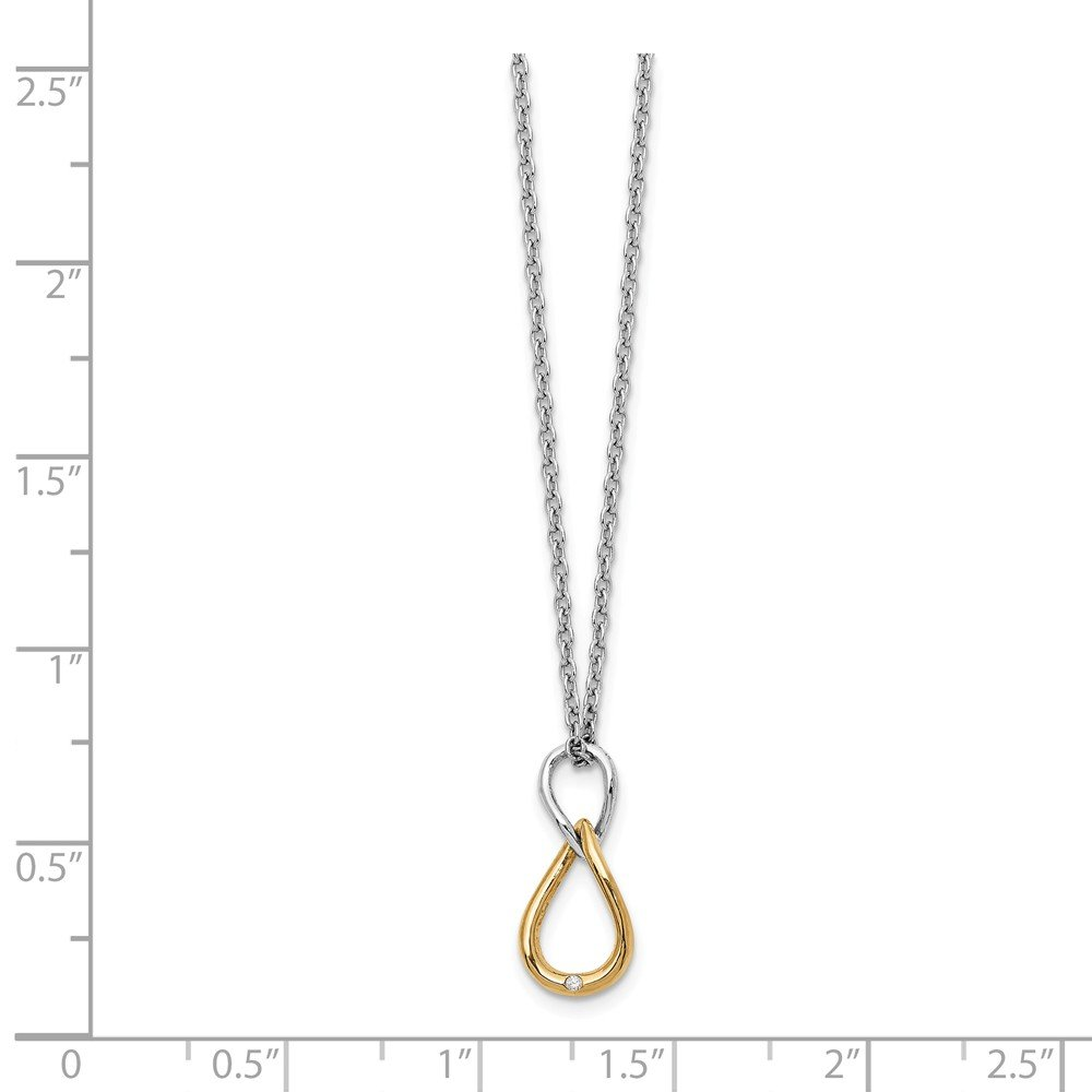 Rhodium /& Gold tone Plated Silver 18-20 In Twisted Diamond Necklace