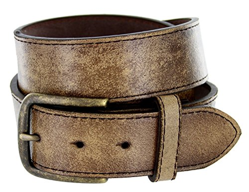 Vintage Style Distressed Genuine Leather Casual Jeans Belt 1-1/2
