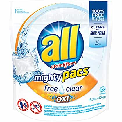all Mighty Pacs Laundry Detergent with OXI Stain Removers and