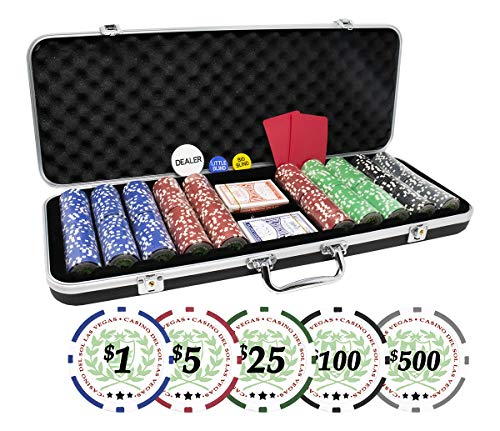 DA VINCI Professional Set of 500 11.5 Gram Casino Del Sol Poker Chips with Denominations and Upgraded Ding Proof Black ABS Case