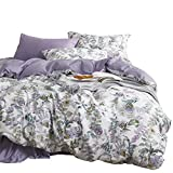 Green and Purple Duvet Set Wake In Cloud - Floral Duvet Cover Set, Sateen Cotton Bedding, Watercolor Botanical Flowers and Green Tree Leaves Garden Pattern Printed in Light Purple Lilac, with Zipper Closure (3pcs, Queen Size)