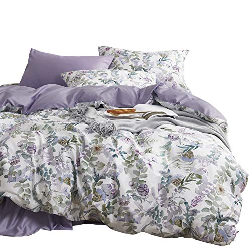 Garden Duvet Set - Wake In Cloud - Floral Duvet Cover Set, Sateen Cotton Bedding, Watercolor Botanical Flowers and Green Tree Leaves Garden Pattern Printed in Light Purple Lilac, with Zipper Closure (3pcs, Queen Size)