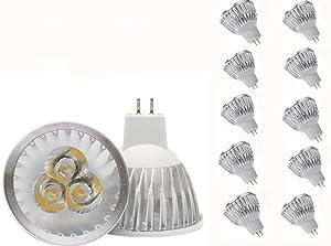 JKLcom MR16 LED Bulbs MR16 3W LED Warm White Light Bulbs GU5.3 MR16 LED Bulbs 12V 3W LED Spotlight Bulbs for for Landscape Recessed Track Lighting,20W Halogen Equivalent,Pack of 10