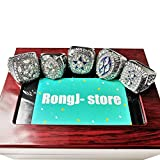 5 Silver Dallas Cowboys Supper Bowl Championship Rings Full Set with a Cherrywood Display Box for Fans Gift (Silver)