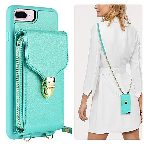(iPhone 8 Plus Wallet Case, JLFCH iPhone 7 Plus Zipper Wallet Case with Card Slot Holder Leather Handbag Buckle Detachable Wrist Strap Long Crossbody Strap Purse for iPhone 7/8 Plus 5.5 - Mint Blue)