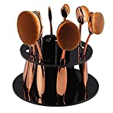 10PCS / set of soft beauty make-up brush oval-shaped toothbrush eyebrow pencil eyeliner blush lips brush set rose gold + 10 hole oval makeup brush brush make-up brush drying rack organizer shelf tools (black)