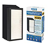 Premium 1 True HEPA Replacement Filter Pack Including 4 Activated Carbon Pre Filters to Stop Smoke and Odors for Blueair 400 Series Model 400, 401, 402, 403, 403, 405, 410, 450E, 455EB air purifiers