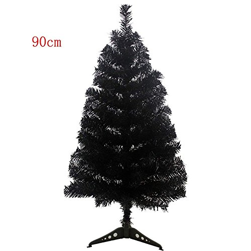 S-SSOY 3 Foot Christmas Trees Artificial Xmas Pine Tree PVC Leg Stand Base Home Office Holiday Decoration (Black) Black Artificial Christmas Tree
