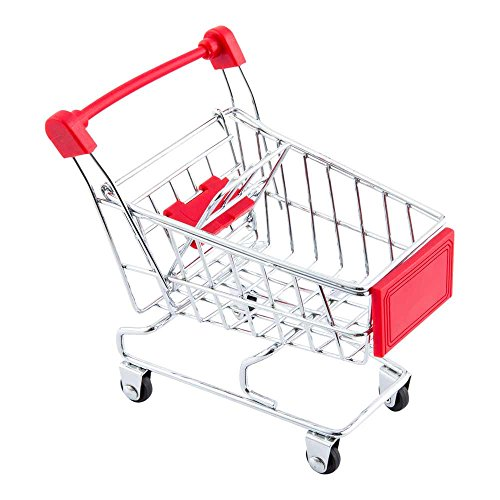Mini Shopping Cart, Novelty Shopping Cart - 5.5 Inches - Silver and Red - Fun Decoration, Serve Snacks or Appetizers - 1ct Box - Restaurantware by Restaurantware
