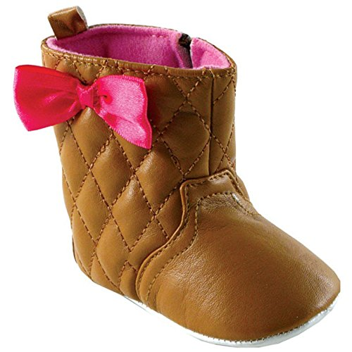 (Luvable Friends Girl's Quilted Zip Boot (Infant), Brown, 0-6 Months M US Infant)