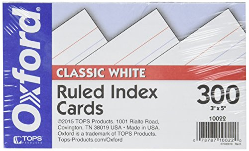 "Oxford Index Cards, 3"" x 5"", Ruled, Classic White, 300/Pack (10022)"