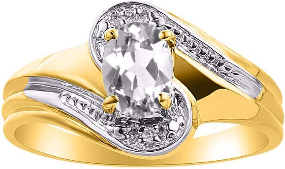 RYLOS Simply Elegant Beautiful Yellow Topaz//Citrine /& Diamond Ring November Birthstone