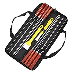 POLIGO 10PCS BBQ Skewers Set - Flat Stainless Steel Metal Grilling BBQ Stick Shish Kebab Kabob Skewers With Wooden Handle - set of 10 in Handy Storage Pouch with Basting Pastry Brush