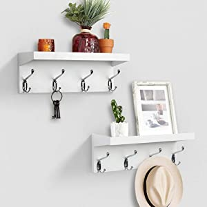 AHDECOR Entryway Floating Wall Mounted Coat Rack, Storage Hanging Shelf with 4 Durable Hangers, White, 2-Pack