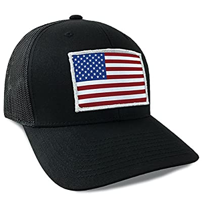 Hoo-Rag American Flag USA Flexfit Mesh Tactical Trucker Snapback Hat Red White and Blue