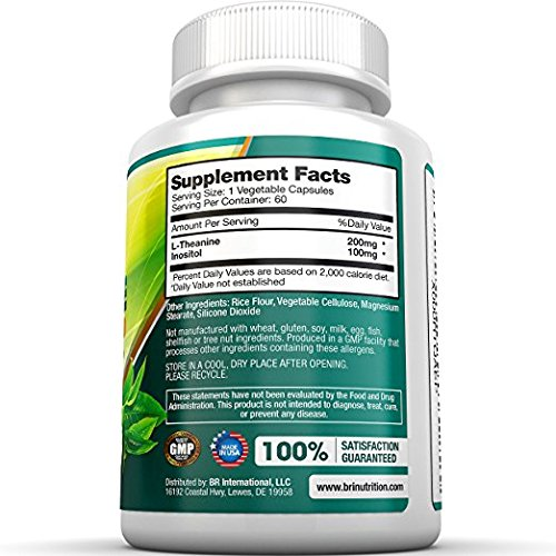 BRI Nutrition 200mg L-Theanine Enhanced with 100 mg of Inositol - 60 Count 200mg L Theanine Veggie Capsules by BRI Nutrition (Image #2)