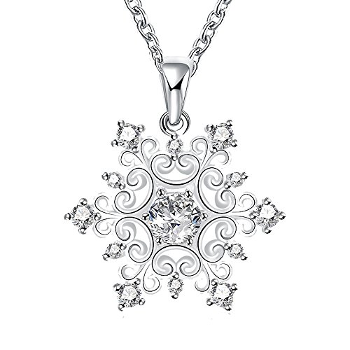 Happy Gogou Snowflake Silver Color Pendant Necklaces Setting with Cubic (Snowflake Necklace)