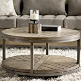 Drossett Wood & Iron Design Round Coffee Table with Casters in Light Mahogany