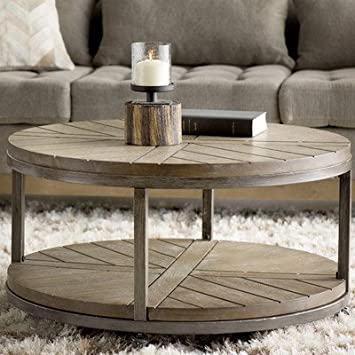 Drossett Wood U0026 Iron Design Round Coffee Table With Casters In Light  Mahogany