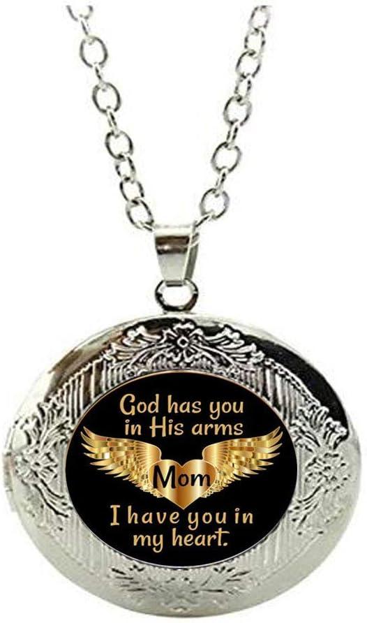 En memoria de la mamá medallón conmemorativo collar joyería - Ángel de duelo pérdida madre joyería,regalos personalizados