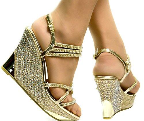 Wedges O Prom Sposa Party Da Rosso Gold Oro Feet Argento Diamante Donna Chic RPq4OZB
