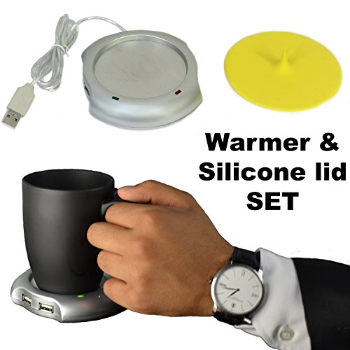 Coffee mug/cup warmer with silicone lid suitable for home & office. Does not includes the mug