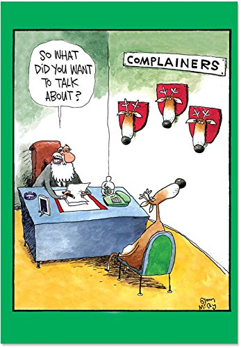 Complainers - 36 Boxed Merry Christmas Cards with Envelopes (4.63 x 6.75 Inch) - Funny Reindeer Hunting, Bulk Xmas Holiday Notecard Set B1540-36