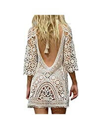 e6b40a5f9b74b Imixshopps Womens Crochet Swimwear Cover up Bikini Beachwear Swim Beach  Dress