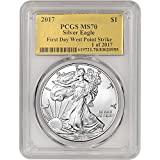 #8: 2017 American Silver Eagle (1 oz) First Day Issue Gold Foil Label 1 of 2017 $1 MS70 PCGS