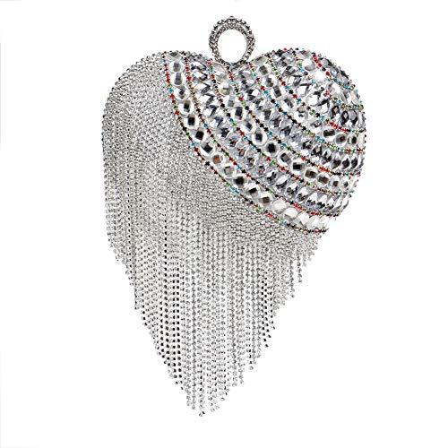 Soirée Sac à Main pour Femmes Pochette Mariage Sac Bandouliere Bal Chaîne Clutch Fête Bourse Maquillage Silver