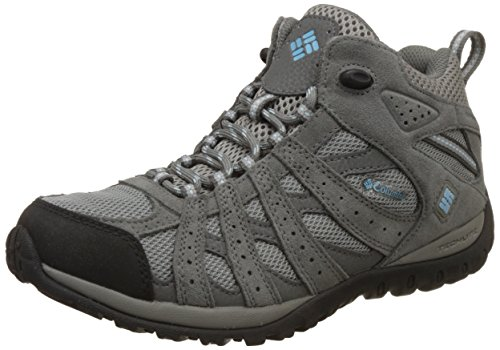 Columbia Women's Redmond MID Waterproof Hiking Boot, Light Grey, Sky Blue, 7 B US (Columbia Sportswear Boots)