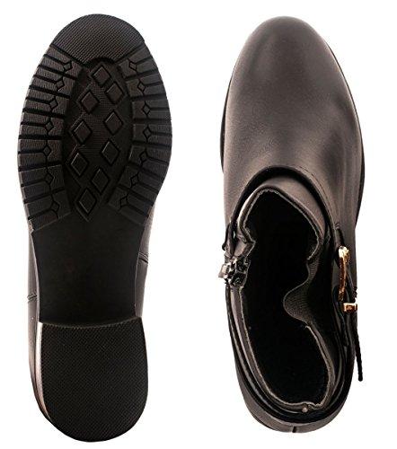 Elara Klassische Stiefeletten   Moderne Damen Ankle Boots   Schnallen Holzabsatzoptik negro