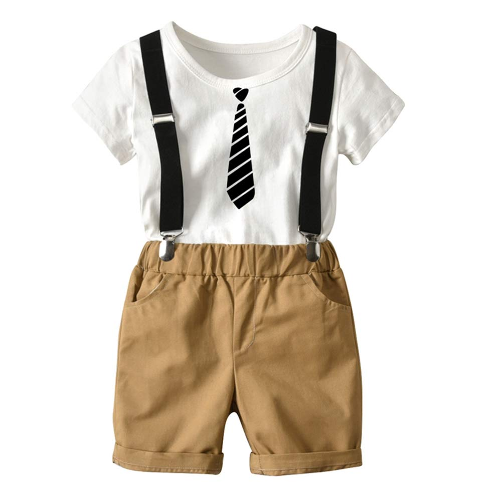 Baby Boy Gentleman Outfits Suits Strap Shorts Infant Boys Tie Print Clothes Sets