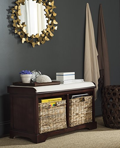 (Safavieh American Homes Collection Freddy Cherry Wicker Storage Bench)