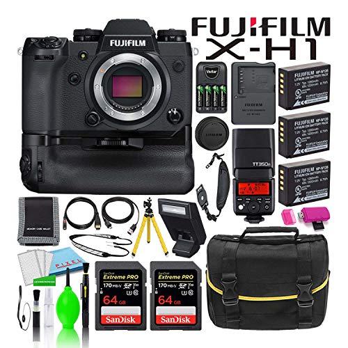 Fujifilm X-H1 Mirrorless Digital Camera with Vertical Power Booster Grip (16568755) Bargain Bundle - Includes - (2) SanDisk 64GB Extreme PRO SD Cards + Godox TTL Flash + Camera Bag + Tripod + More