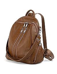 UTO Women Backpack Purse PU Washed Leather Convertible Ladies Rucksack Zipper Pockets Crossbody Shoulder Bag Brown CA